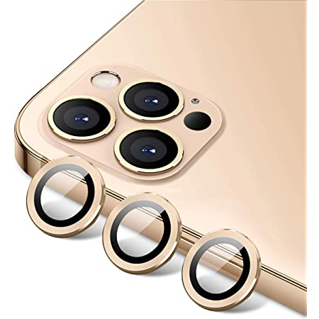 Gold Tamoria Eagle Eyes Series Camera Lens Protector Compatible with iPhone 12 Pro Max 6.7 Premium Tempered Glass Aluminum Alloy Lens Screen Cover Film Accessories Designed for iPhone 12 Pro Max Set of 3
