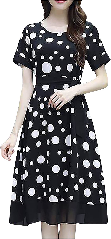 YAYUMI Women Polka Dot Dress Round Today's only Printed Long Bowknot Super intense SALE Sk Neck
