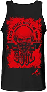 Gs-eagle Men's Printed Two Wheels Move The Soul Skull Motorcycle Graphic Tank Top