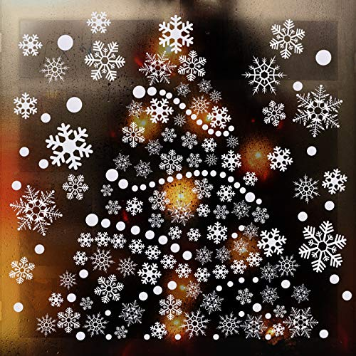 WXJ13 360 Pieces Christmas Snowflake Window Decal Stickers Original Reusable Static PVC Stickers for Xmas Holiday Winter Christmas Window Decorations Ornaments New Year Party Supplies, 8 Sheets, White