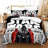 Star Wars Series Juego de ropa de cama 3D Anime y 2 fundas de almohada de microfibra, acogedoras fundas de edredón con cremallera, para niños y niñas (A9,220 x 240 cm - 50 x 75)