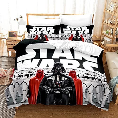 Star Wars Series Juego de ropa de cama 3D Anime y 2 fundas de almohada de microfibra, acogedoras...
