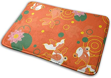 "Cute Kawaii Goldfish Pond Floor Rug Indoor/Front Door Mats Home Decor Rubber Non Slip Backing 23.6""(W) X 15.8""(L)"