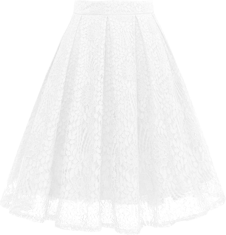Girstunm Women High National uniform free shipping Waist Pleated A-Line Length Popular popular Knee Lace Pocket