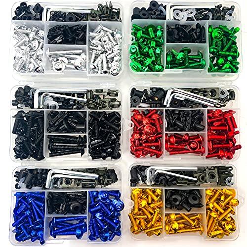 Motorcycle Fairing Bolt Kit Screws Fasteners Screws Clips Washers Nuts for Yamaha Bmw Kawasaki Suzuki GSXR600 750 1000 GSX1300R Honda CBR600RR CBR1000RR CBR650F CBR600 F3 F4 F4i (Black)