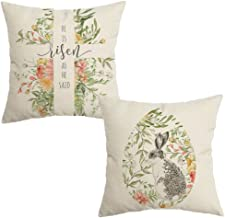 CROWNED BEAUTY Easter Pillow Covers 18x18 Set of 2, He is Risen Bunny Easter Decorative Throw Pillow Covers Farmhouse Deco...