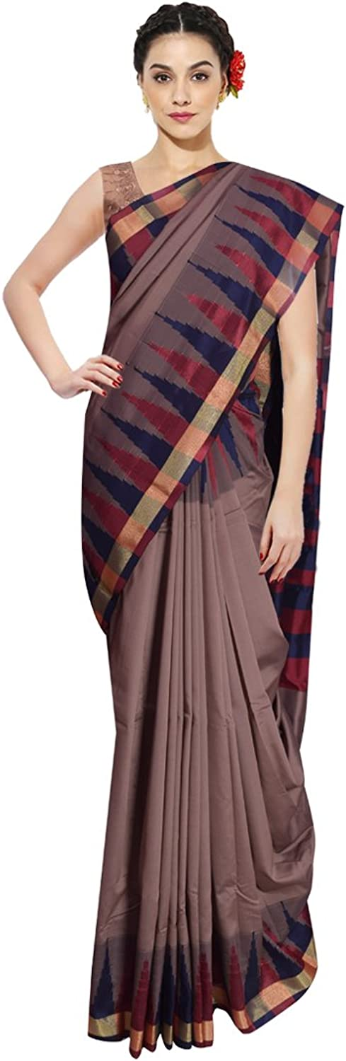 KarigarStreet Silk Saree with the Traditional temple border with Blouse Material  Grey
