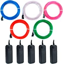 EL Wire Kit 9ft, Portable Neon Lights for Parties, Halloween, Blacklight Run, DIY Decoration (5 Pack, Each of 9ft, Red, Green, Pink, Blue, White)