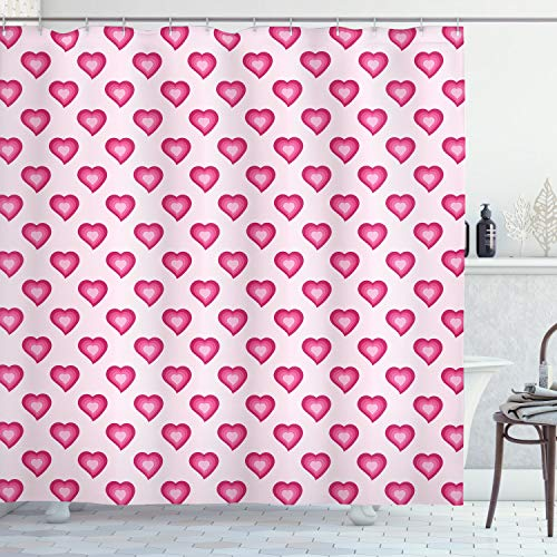 ABAKUHAUS Blasses Rosa Duschvorhang, Nette Herz-Karikatur, Hochwertig mit 12 Haken Set Leicht zu pflegen Farbfest Wasser Bakterie Resistent, 175 x 200 cm, Magenta Pale Pink