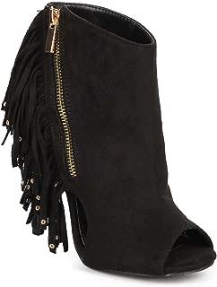 Women Suede Studded Vertical Fringe Peep Toe Cutout Stiletto Bootie EJ00 - Black