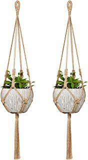 Mkono Small Macrame Plant Hangers Jute Hanging Planter 30 Inch (Fit Small Pot Up to 6 Inch) Indoor Wall Window Container Holder Basket Home Decor, 2 Packs