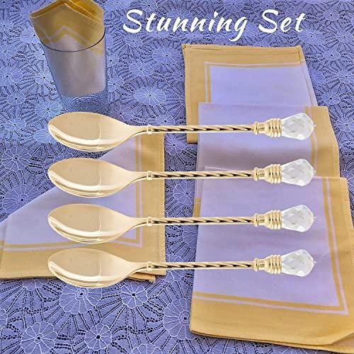 Matashi MTTSPN434-4 Dessert Spoon, Set of 4, Gold
