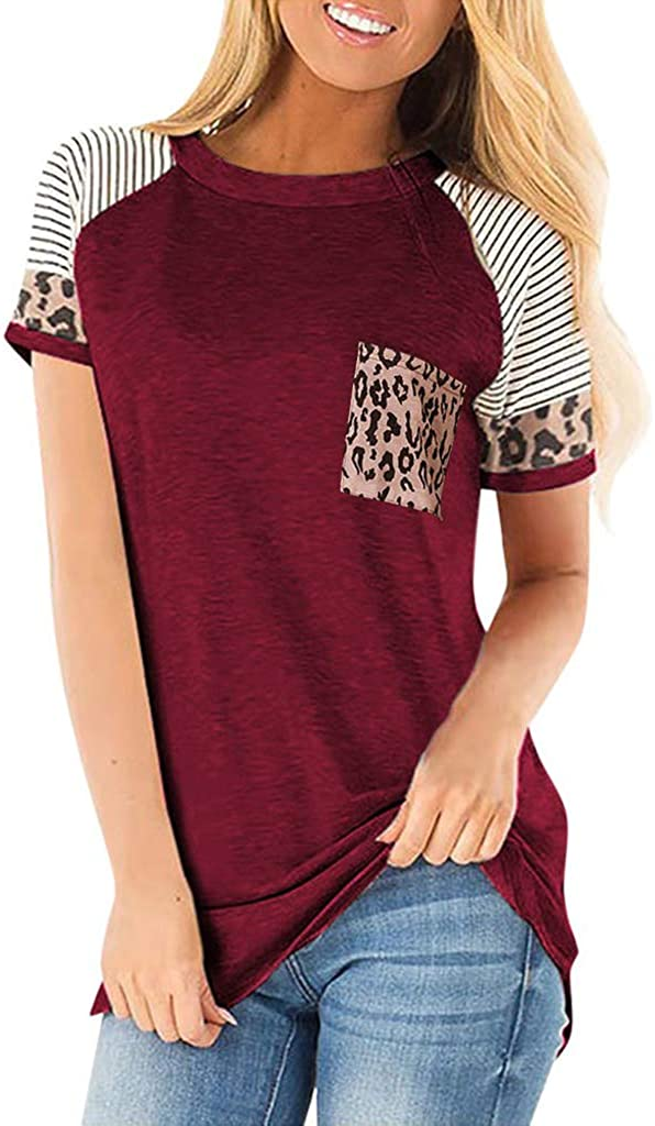 Women's Short Sleeve Tops Leopard Print T Shirts Round Neck Summer Casual Loose Tunic Tops
