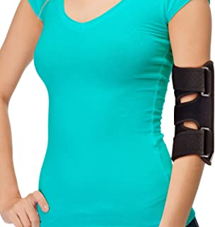 Elbow Brace for Comfortable Elbow Support - Adjustable Stabilizer to Keep Your Elbow Immobilized & Your Arm Straight with Two Removable Metal Splints Great Night Elbow Splint for Sleeping (Fits Most)