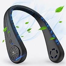 Ventilateur USB,Tesoky Ventilateur de Poche,Ventilateur Portable Nuque Rechargeable,Ventilateur Cou sans Feuilles Réglable...