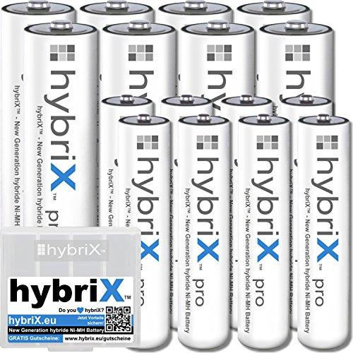 kraftmax 16er KombiPack hybriX pro Set - 8X Mignon AA + 8X Micro AAA Hybrid Akkus in Box - Die Neue Generation von Hybrid Akku Batterien