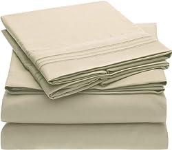 Mellanni Bed Sheet Set - Brushed Microfiber 1800 Bedding - Wrinkle, Fade, Stain Resistant - 5 Piece (Split King, Beige)