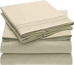 Mellanni Bed Sheet Set - Brushed Microfiber 1800 Bedding - Wrinkle, Fade, Stain Resistant - Hypoallergenic - 4 Piece (King, Beige)