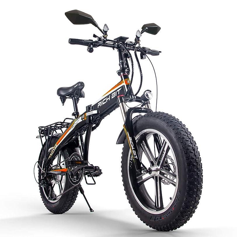 生むもつれ阻害するRICH BIT TOP016 500w 電動ハイブリッドバイク 20インチファットバイク スノーバイク 折りたたみ 4色(グリーン)