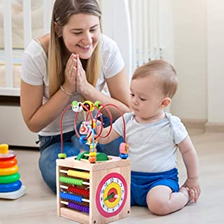 McDou Wooden Activity Cube Toy, Wooden Bead Maze Bead Maze Table Wooden Bead Maze Toy for Toddlers and Kids