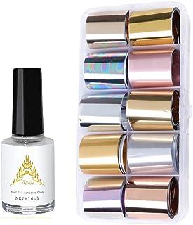 AIFAIFA Metallic Nail Foils Transfer with Nail Glue, 10 Color Metallic Transfer Nail Foils Sticker, Gold, Silver, Rose Gold