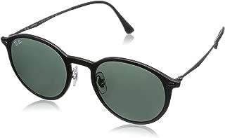 Ray-Ban RB4224 Round Sunglasses, Matte Black/Green, 49 mm