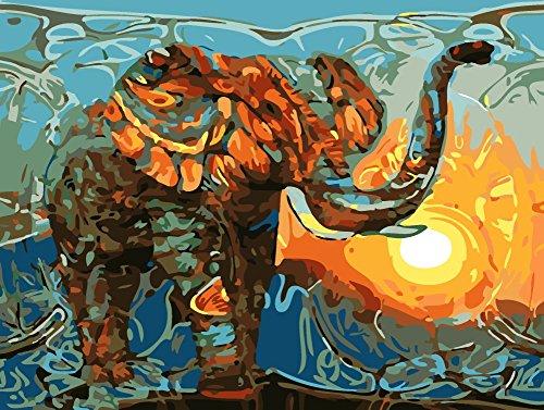 Kit de pintura por números para adultos y niños, de YEESAM Art; pintura de elefante, águila o león coloridos (40,6 x 50,8 cm), Elephant & Sun, Without Frame