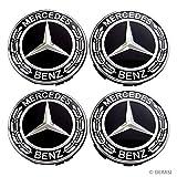Haiy 4 Piece 75mm Black Center hub Cap for Mercedes-Benz for All Models (Black)