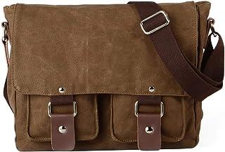 Fanspack Men's Canvas Messenger Shoulder Crossbody Bag (Coffee)