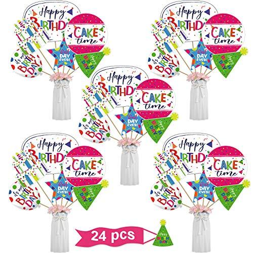 24 Piezas Tarjetas y Palillos de Centro de Mesa de Feliz Cumpleaños Toppers de Mesa de Tema de Cumpleaños Alegre Decoración Colorida de Mesa de Cumpleaños con Taco de Madera Puntos de Pegamento