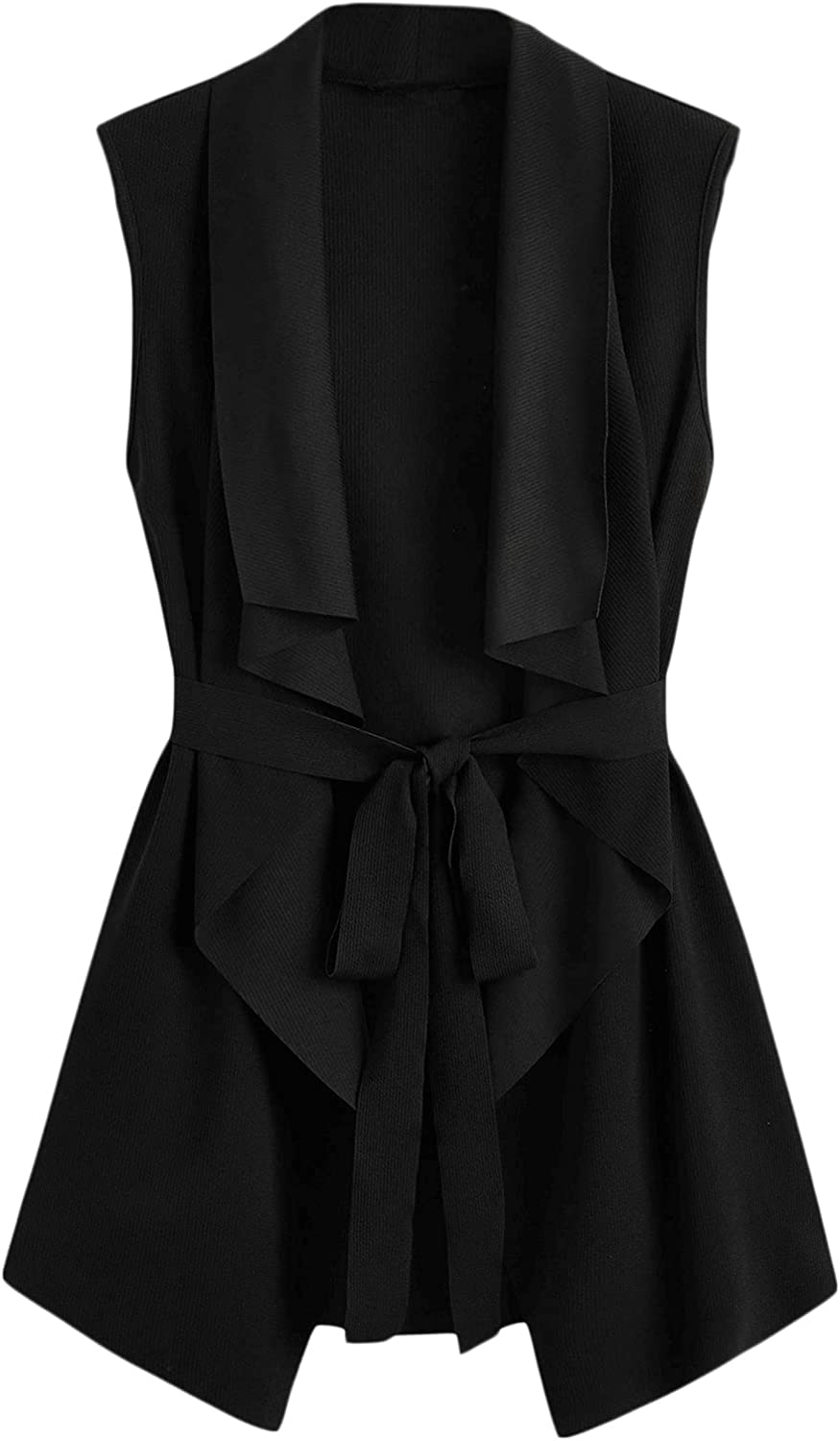 SOLY HUX Women's Plus Size Sleeveless Lapel Open Front Vest Jacket Cardigan with Belted