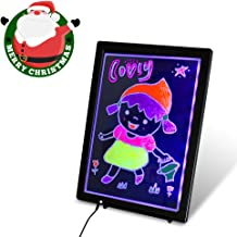 USB LED Writing Board, 12.8x9.5inch Electronic Neon Illuminated Kids Drawing Board, Writing Message Board Handwriting Pad with Erasable Chalk Marker, Business Sign, Office Memo & Home Note