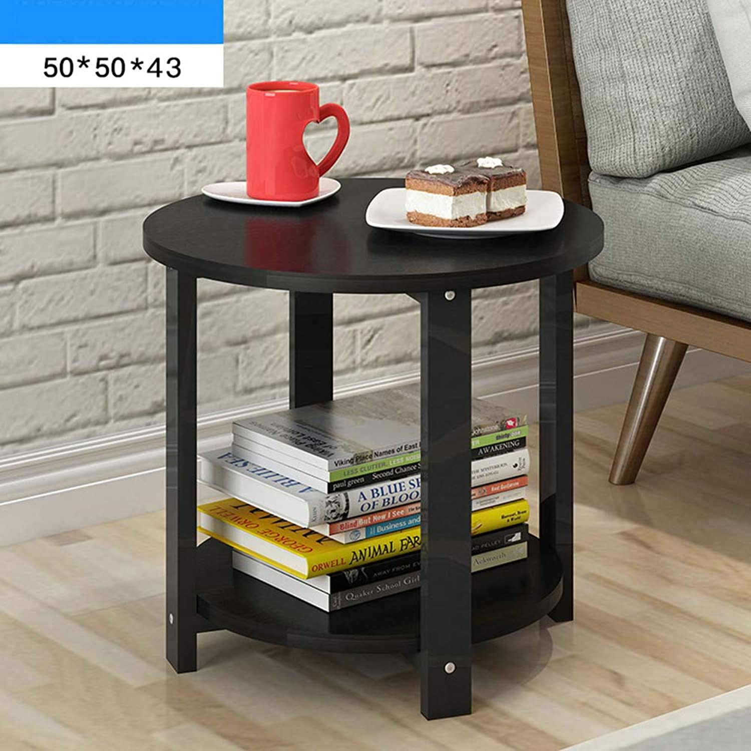HAIZHEN table Coffee table, Round Small Round table Rack,50  50  43CM, 60  60  43CM(4 colors) (color   D, Size   50  50  43CM)
