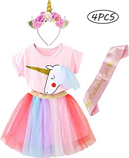 BGFKS Girls Birthday Party Supplies Unicorn Dresses Sets Pink Tops,Layered Rainbow Tutu Skirt and Unicorn Headband Outfits