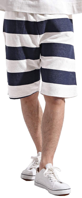 総柄 プリント デザイン 裏毛 ショートパンツ メンズ 短パン 夏 カジュアル リゾート Lサイズ 1太ボーダーネイビー