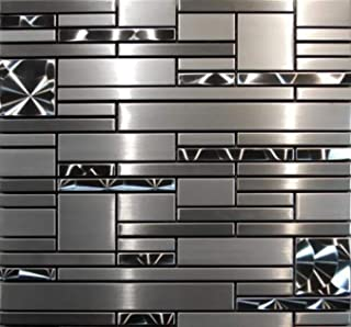 Interlocking Stainless Steel Mosaic - Quadrant Tile (5-Sheets) Kitchen, Bathroom, and Patio Flooring   Indoor and Outdoor Use   Natural Auburn Stones   Quick and Easy Grout Installation
