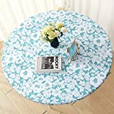 Jilimeli Vinyl Elastic Table Cover with Flannel Backing for Round Table, Reusable and Wate...