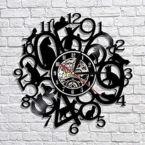 SHILLPS Reloj de Pared Gatito Negro Reloj de Gato decoración de guardería de Animales Disco de Vinilo Reloj de Arte Mujeres Amante de los Animales Ideas de Regalo con LED