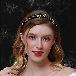 Aimimier Baroque Crystal Headband Bridal Vintage Pearl Gemstone Bee Embellished Tiara Crown Luxury Wide Velvet Hair Hoop f...