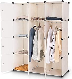 Tangkula Closet Portable DIY Plastic Stackable Customizable Bedroom Dom Dresser Clothes Closet Wardrobe Armoire Organizing Shelf Cube Storage with Doors Organizer Closet (6 Cubes +2 Hanging Sections)