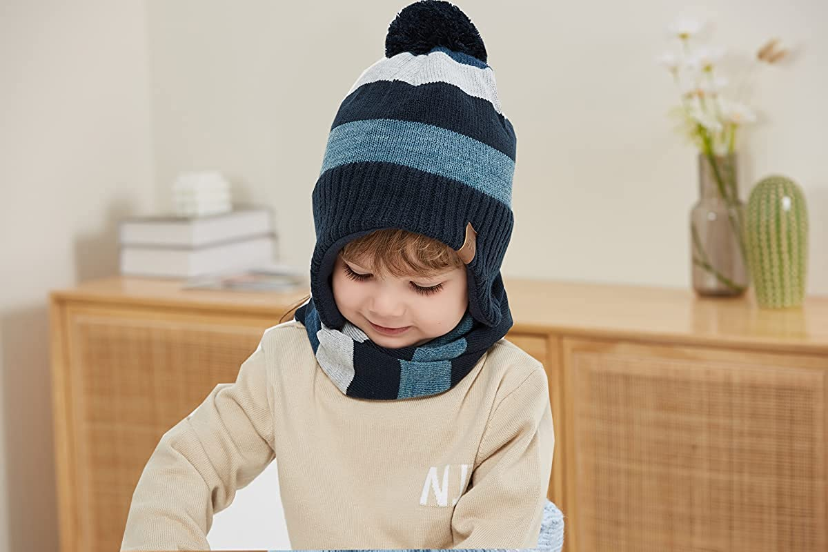 Moon Kitty Baby Boys Girls Knit Hats Winter Fleece Skiing Winter Caps with Warm Ear Flap …: Clothing, Shoes & Jewelry