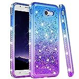 Ruky Samsung Galaxy J7 Prime 2017 Case, Galaxy J7 Sky Pro J7 V J7 Perx Halo Case, Gradient Quicksand Series Glitter Bling Flowing Liquid Soft TPU Girls Women Phone Case for Samsung Galaxy J7 2017,Blue