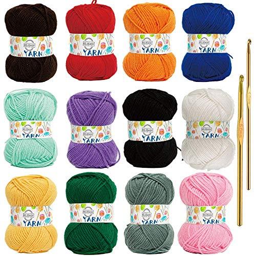 Lot de 12 pelotes de fil à tricoter 2 crochets en acrylique coloré 50 g