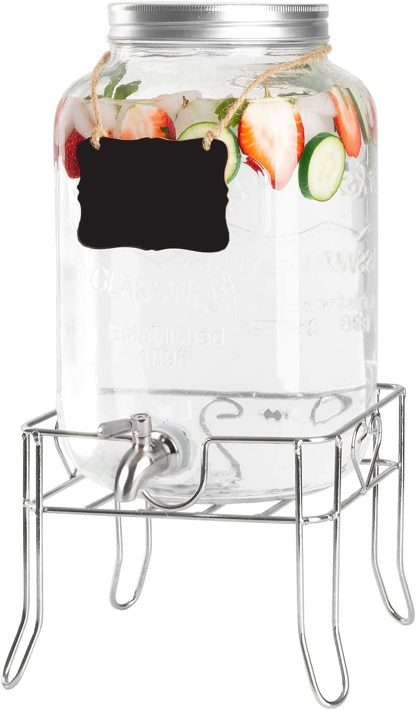 Ilyapa Max 82% OFF Outdoor Glass Beverage Dispenser Metal Sturdy Base with Challenge the lowest price of Japan ☆
