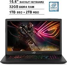 2019 ASUS ROG Strix 15.6 Inch FHD 1080P Gaming Laptop (8th Gen Inter 6-Cores i7-8750H up to 4.1GHz, 32GB DDR4 RAM, 1TB SSD (Boot) + 2TB HDD, NVIDIA GeForce GTX 1050 Ti 4GB, Backlit KB, Windows 10)