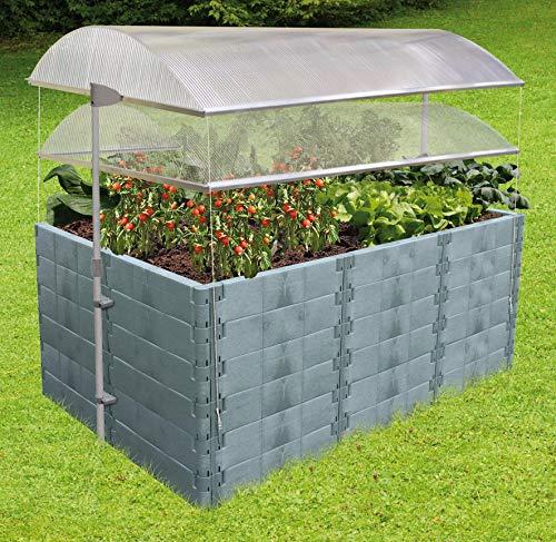 Juwel Dachhaube für Hochbeet Größe 2 (Maße 190x121 cm, Schutzdach für Pflanzenbeet, mit 4 mm Thermoscheiben, inkl. Windsicherung, Regendach höhenverstellbar 90-160 mm) 20114