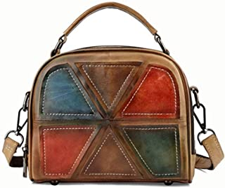 Women's New Handmade Vintage Crossbody Shoulder Tote Messenger Bag Candys house (Color : Brown)
