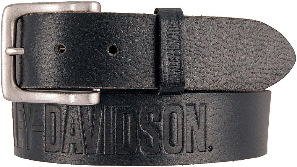 Harley-Davidson Men's Embossed Ride The Line Leather Belt, Black HDMBT11331-BLK