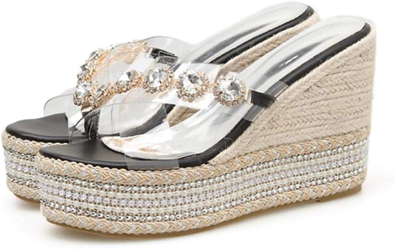 Sandals Women's,Summer Hollow Cross Belt Transparent Rhinestone Platform Wedge Flip-Flop Evening shoes