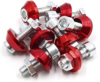 uxcell 8Pcs 6mm Thread Dia Motorcycle License Plate Frame Screw Bolts Cap Fasteners Red